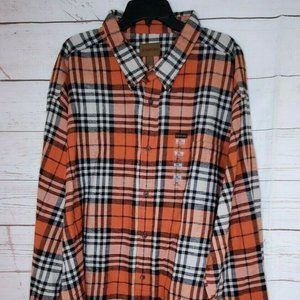 St Johns Bay 4XL Cotton Orange Black Flannel Shirt
